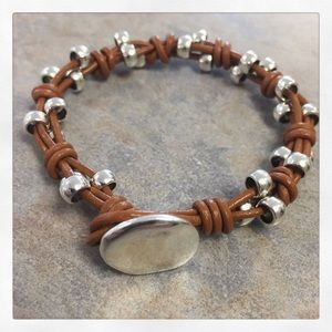 Jewelry - Silver & Brown Toggle Bracelet - Handmade!